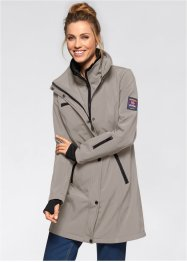 Stretch-Softshell-Langjacke, bpc bonprix collection, taupe