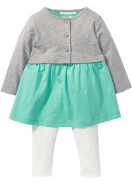 Baby Kleid + Bolero + Leggings (3-tlg. Set) Bio-Baumwolle, bpc bonprix collection