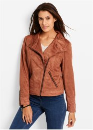 Velourslederimitatjacke, bpc bonprix collection, cognac