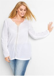 Langarm-Bluse, bpc bonprix collection, weiß