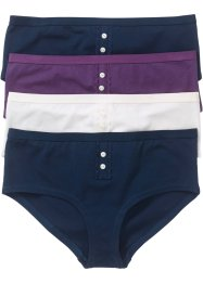 Panty (4er-Pack), bpc bonprix collection, dunkelblau/weinbeere/wollweiß