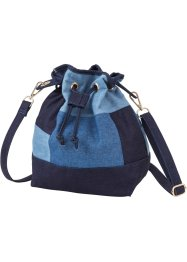 Beuteltasche Denimpatch, bpc bonprix collection, blau/dunkelblau/blue bleached mix
