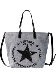 Shopper Denim mit Stern, bpc bonprix collection, grau