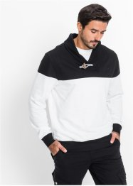 Sweatshirt mit Schalkragen Regular Fit, bpc bonprix collection, schwarz/weiß