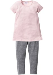 Kleid + Leggings (2-tlg. Set), bpc bonprix collection, zartrosa/grau meliert