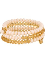mehrreihiges Armband funkelnde Steine, bpc bonprix collection, creme/ gold transparent