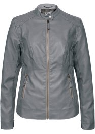 Lederimitat-Jacke, bpc bonprix collection, rauchgrau
