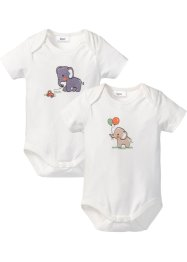 Baby Kurzarmbody (2er-Pack) Bio-Baumwolle, bpc bonprix collection, wollweiß