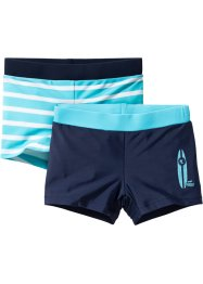 Badehose Jungen (2er-Pack), bpc bonprix collection, blau/türkis