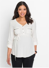 Umstandsbluse mit Bindeband, bpc bonprix collection, wollweiß