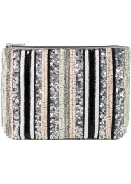 Clutch mit gestreiften Pailletten, bpc bonprix collection, cremeweiss/silber/nude
