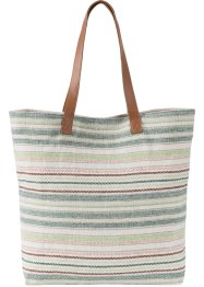 Baumwoll-Shopper gestreift, bpc bonprix collection, wollweiß/braun/multi