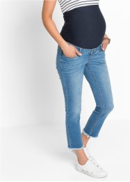 Umstandsjeans, 7/8 mit Fransen am Saum, bpc bonprix collection, blue bleached