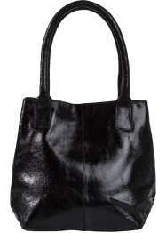 Lederhandtasche Metallic, bpc bonprix collection, schwarz metallic