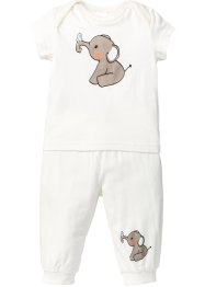 Baby T-Shirt + Shirthose (2-tlg.) Bio-Baumwolle, bpc bonprix collection, wollweiß