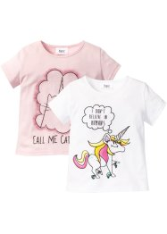 T-Shirts (2er-Pack), bpc bonprix collection, weiß Unicorn+zartrosa Caticorn