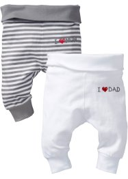 Baby-Shirthose (2er-Pack) Bio-Baumwolle, bpc bonprix collection, uni weiß/ grau/weiß gestreift