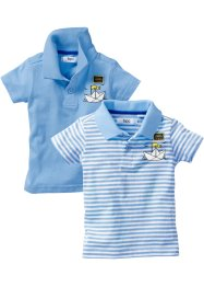 Baby Polo-Shirt (2er-Pack) Bio-Baumwolle, bpc bonprix collection, hellblau & hellblau/weiß