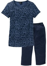 Capri-Pyjama (2-tlg.), bpc bonprix collection, indigo bedruckt