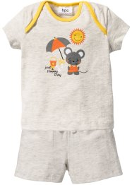 Baby T-Shirt + Shorts (2-tlg.) Bio-Baumwolle, bpc bonprix collection, naturmeliert