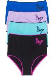 Taillenslip (4er-Pack), bpc bonprix collection, azurblau/schwarz/aqua/flieder