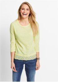 3/4-Arm-Flammgarn-Shirt mit Spitze, bpc bonprix collection, zitronensorbet
