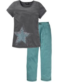 Pyjama, bpc bonprix collection, mineralblau/grau bedruckt