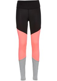 Lange Sport-Leggings, bpc bonprix collection, schwarz/neonlachs/silbergrau