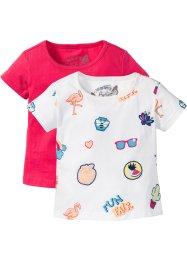 T-Shirt (2er-Pack), bpc bonprix collection, wollweiß Batges+hibiskuspink