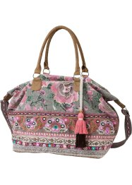 Henkel Shopper mit Stickerei und Pailletten, bpc bonprix collection, blau/pink multi