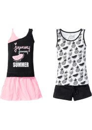 Top + Shorts + Rock (4-tlg.), bpc bonprix collection, schwarz/weiß/neonpink