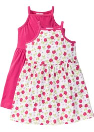 Kleid (2er-Pack), bpc bonprix collection, dunkelpink+wollweiß bedruckt