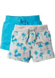 Sweatshorts (2er-Pack), bpc bonprix collection, naturmeliert bedruckt+karibikblau