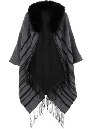 Poncho mit Fellimitat, bpc bonprix collection, grau/schwarz