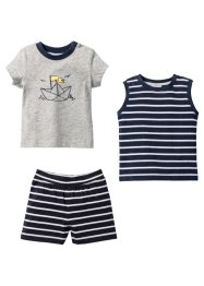 Baby T-Shirt + Top + Shorts (3-tlg.) Bio-Baumwolle, bpc bonprix collection