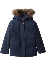 Wattierte Jacke mit Fellimitat-Kapuze, bpc bonprix collection