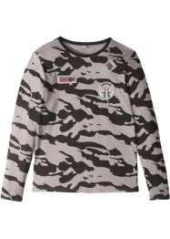 Langarmshirt mit Camouflagedruck und Badges, bpc bonprix collection