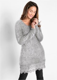 Langarm-Long-Pullover mit Spitze, bpc bonprix collection