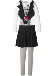 Shirt-Weste + Rock + Leggings (3-tlg.), bpc bonprix collection