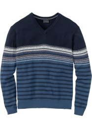 Gemusterter V-Pullover Regular Fit, bpc selection