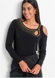 Cold-Shoulder-Shirt mit Perlen, BODYFLIRT