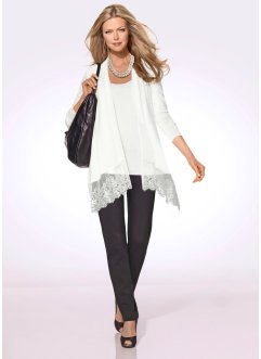 Premium Twinset (Shirtjacke + Top), bpc selection premium, wollweiß