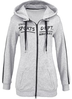 Sweatjacke, bpc bonprix collection, hellgrau meliert meliert