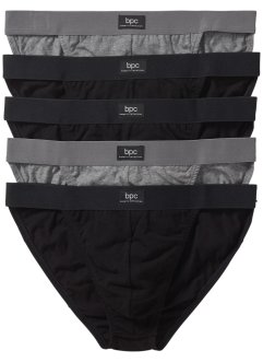 Tanga (5er-Pack), bpc bonprix collection, schwarz/grau meliert