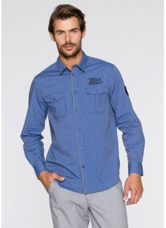 Langarmhemd Regular Fit, bpc bonprix collection, enzianblau gestreift