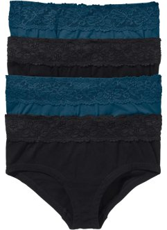 Maxipanty (4er-Pack), bpc bonprix collection, schwarz/blaupetrol