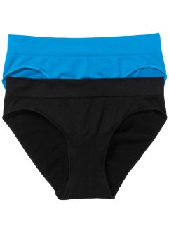 Seamless Slip (2er-Pack), bpc bonprix collection, schwarz/capriblau