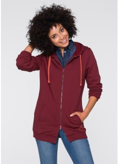 Long-Sweatjacke, John Baner JEANSWEAR, bordeaux