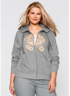 Sweatjacke, bpc bonprix collection, grau meliert bedruckt