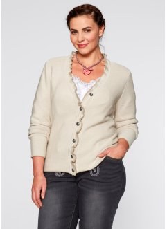 Trachten-Strickjacke mit Rüschen, bpc bonprix collection, kieselbeige/new beige